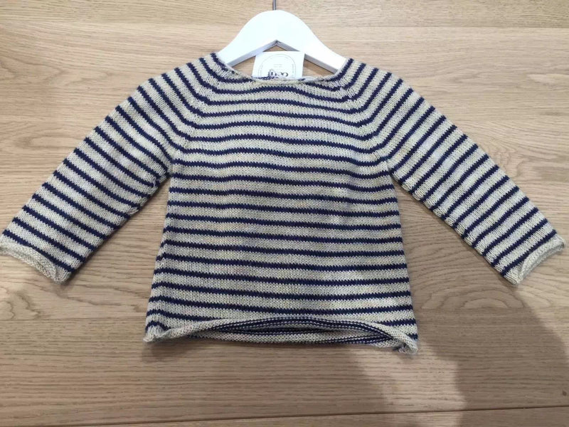 Baby Girls Beige&Navy Blue Stripes Angel Sweater - CÉMAROSE | Children's Fashion Store - 1
