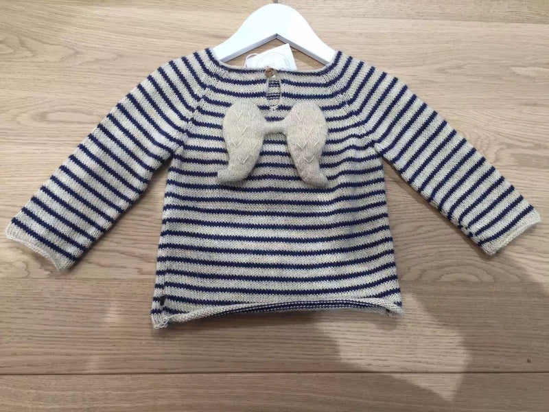 Baby Girls Beige&Navy Blue Stripes Angel Sweater - CÉMAROSE | Children's Fashion Store - 2