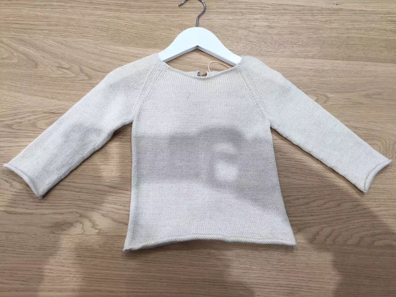 Baby Girls White Alpaca Wool Angel Sweater - CÉMAROSE | Children's Fashion Store - 1