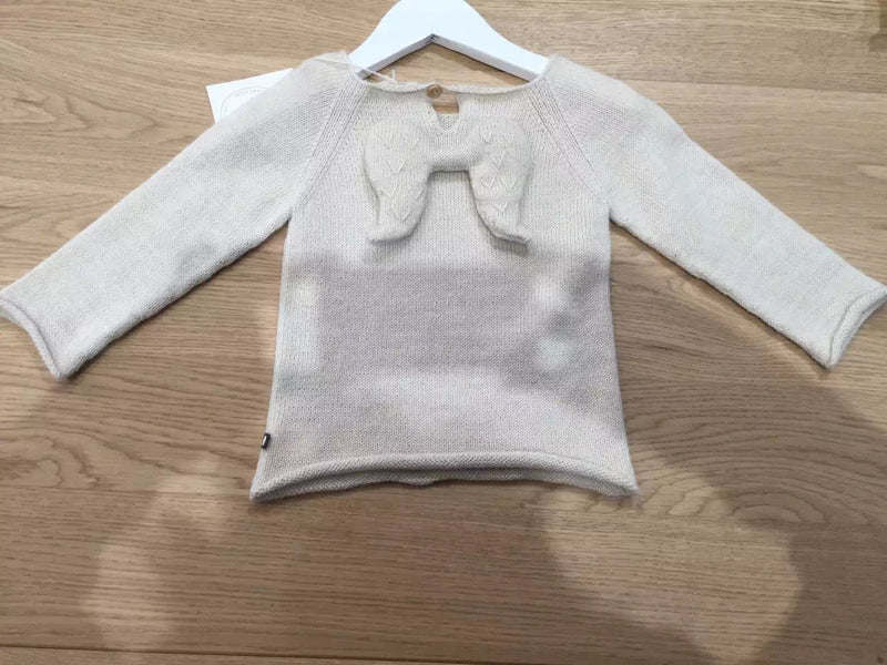 Baby Girls White Alpaca Wool Angel Sweater - CÉMAROSE | Children's Fashion Store - 2