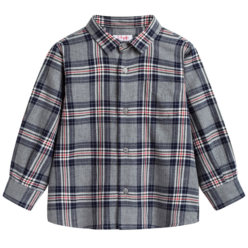 Boys Blue Checked Cotton Shirt
