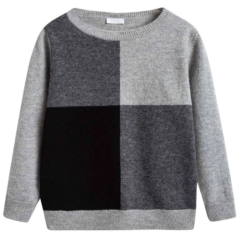 Boys Grey Colour Block Sweater