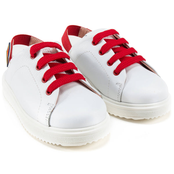 Girls White Leather Sandal Sneakers