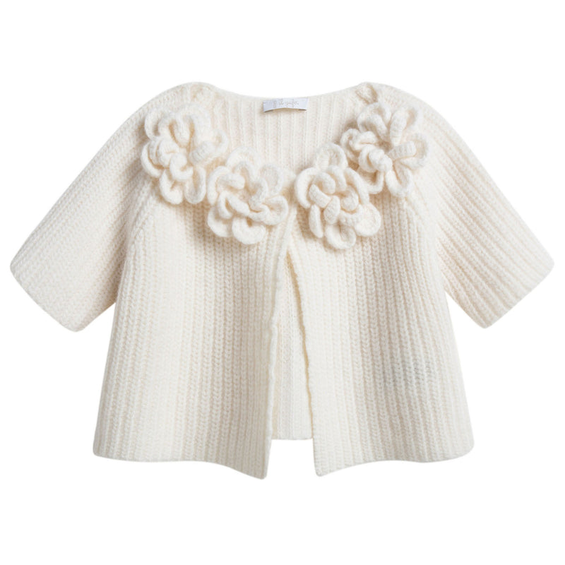 Girls Ivory Wool Cardigan With Flower Trims