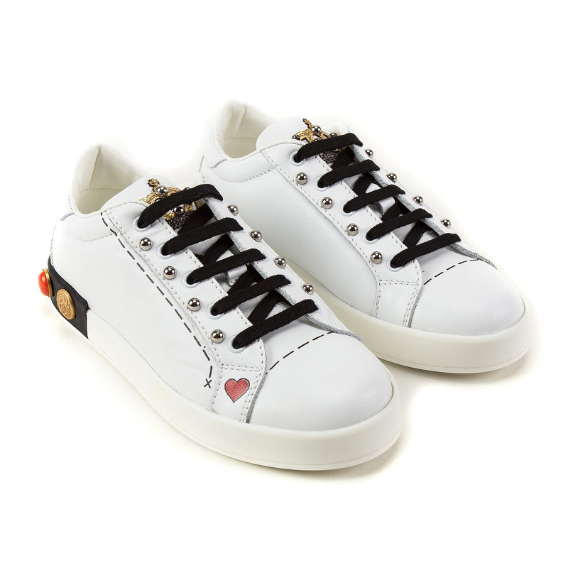 Girls White Leather Trainers With Crown Trim