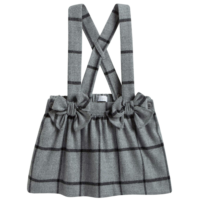 Baby Girls Grey Checked Skirt With Bow