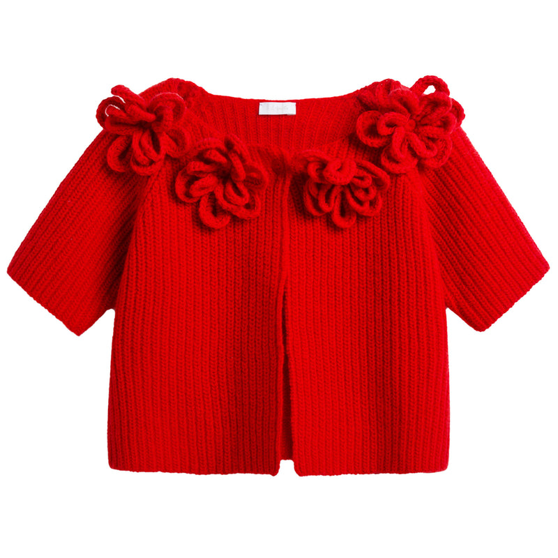 Girls Red Wool Cardigan With Flower Trims
