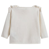 Girls Ivory Wool Sweater with Ruffle