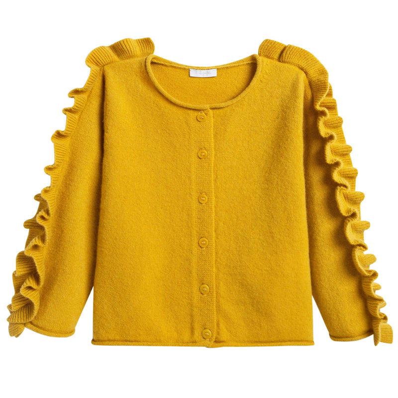 Girls Yellow Knitted Wool Cardigan With Ruffle