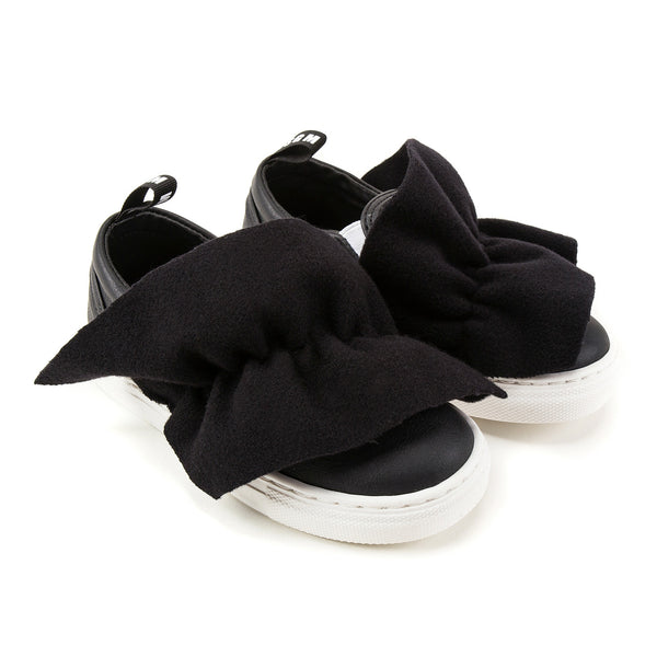 Girls Black Logo Trainers With Ruffle