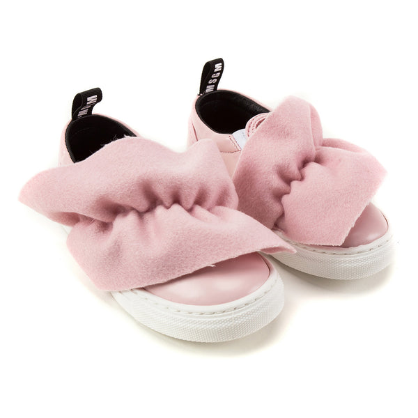Girls Pink Logo Trainers With Ruffle