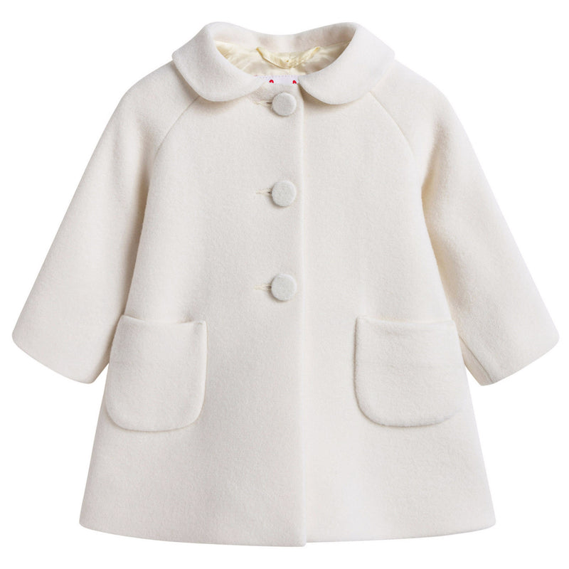Girls Ivory Wool & Cashmere Coat