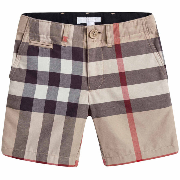 Boys Beige Checked Cotton Shorts - CÉMAROSE | Children's Fashion Store - 1