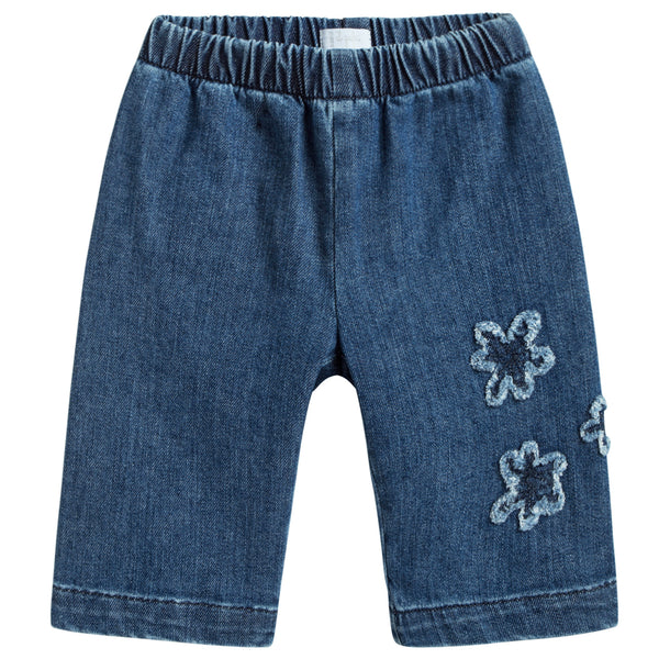 Baby Girls Denim Blue Cotton Jeans With Flowers Trims