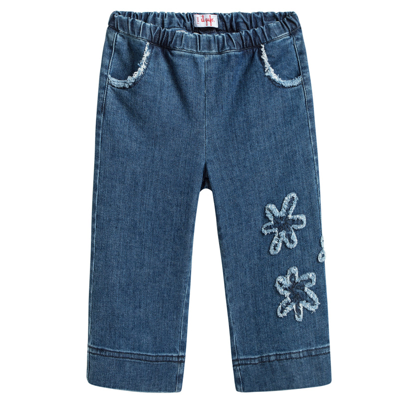Girls Denim Blue Cotton Jeans With Flowers Trims
