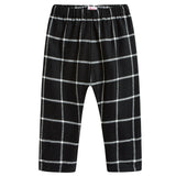 Girls Black Checked Trousers