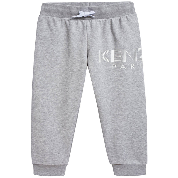 Girls Marl Grey Logo Cotton Trousers