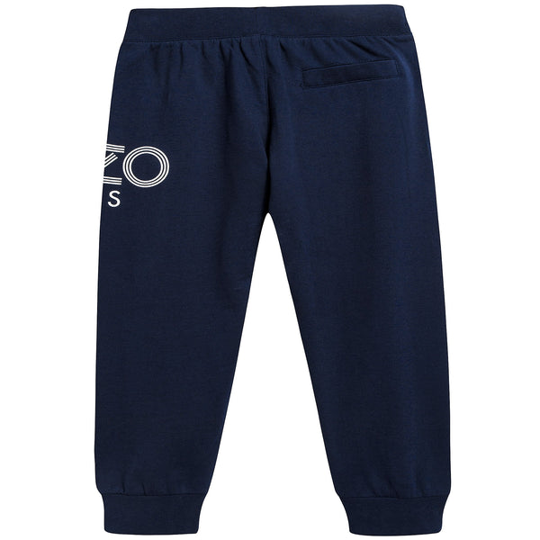 Boys Navy Logo Cotton Trosers