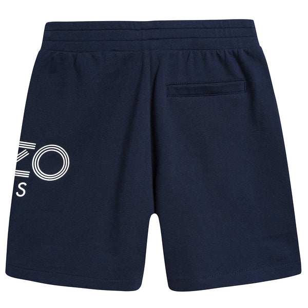 Boys Navy Logo Cotton Shorts