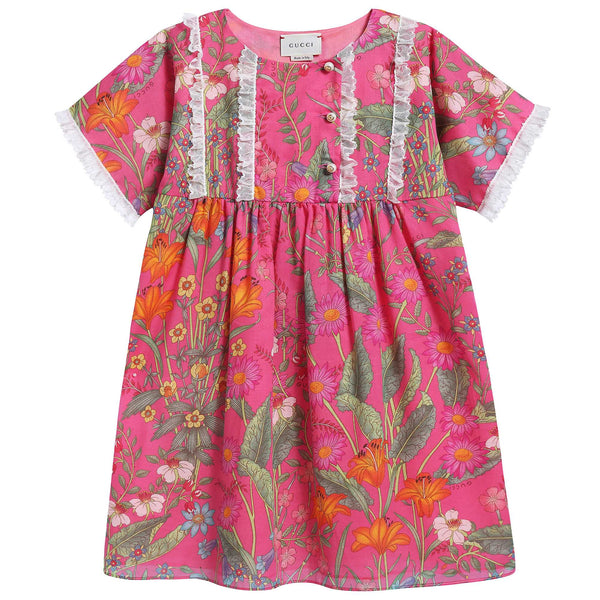 Girls Pink Printed Dress