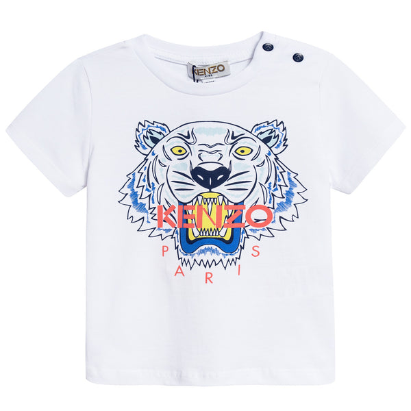 Baby Boys White Tiger Printed Cotton T-shirt