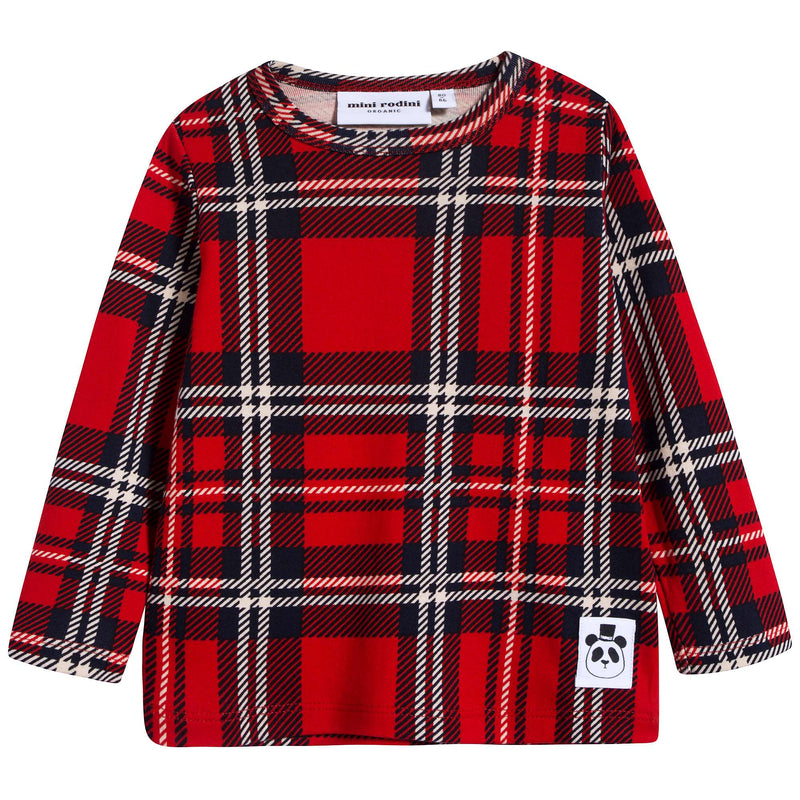 Girls Red Check Organic Cotton T-shirt