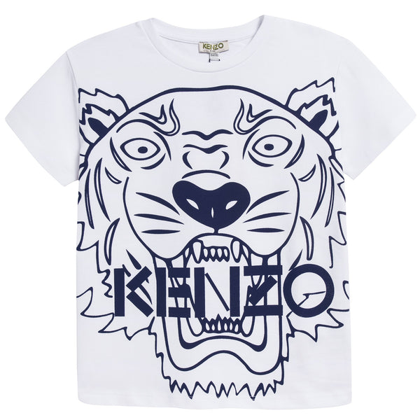 Boys White & Navy Tiger Printed Cotton T-shirt