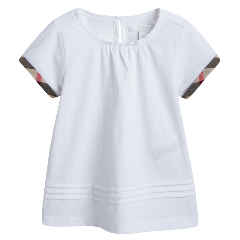 Girls White Pleat and Check Detail Cotton T-shirt