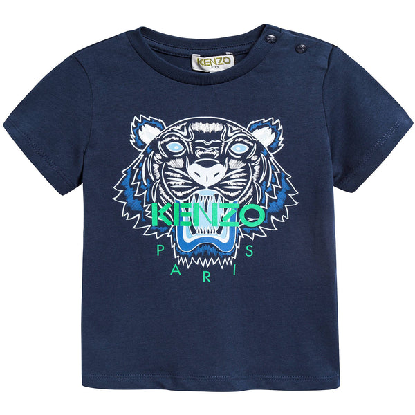 Boys Navy Tiger Printed Cotton T-shirt