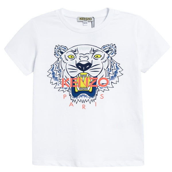 Boys White Tiger Printed Cotton T-shirt