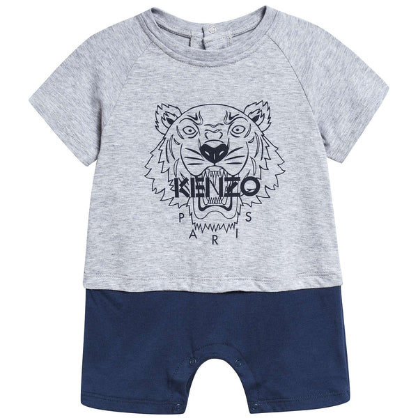 Baby Boys Marl Grey Cotton Babysuit