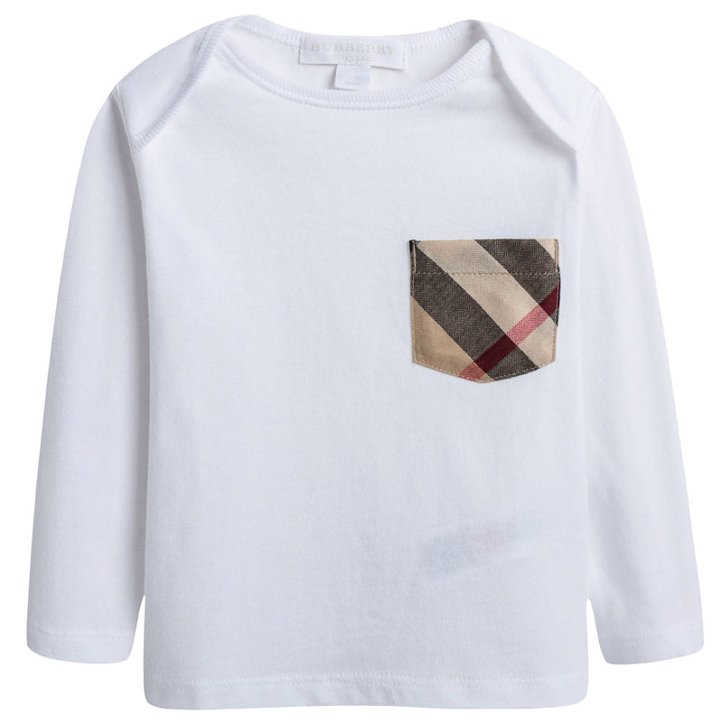 Baby White Cotton Long Sleeves T-shirt With Check Pocket