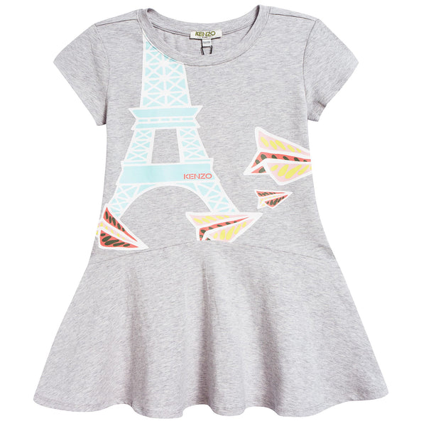 Girls Marl Grey Cotton Printed Dress