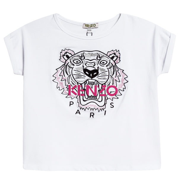 Girls White Tiger Printed Cotton T-shirt