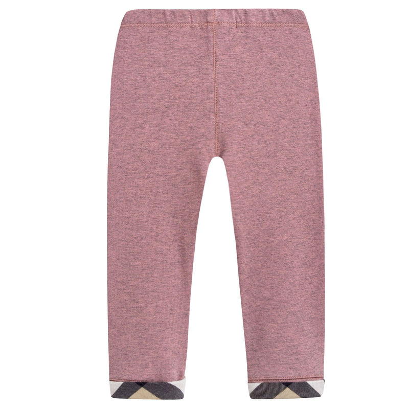 Baby Girls Pink Cotton Leggings With Check Cuffs