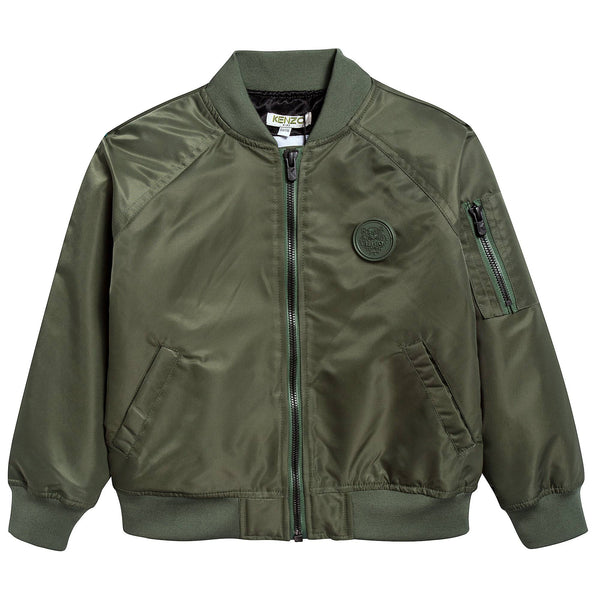 Boys Army Green Logo Jacket