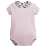 Baby Girls Pink Cotton Body With Check Collar