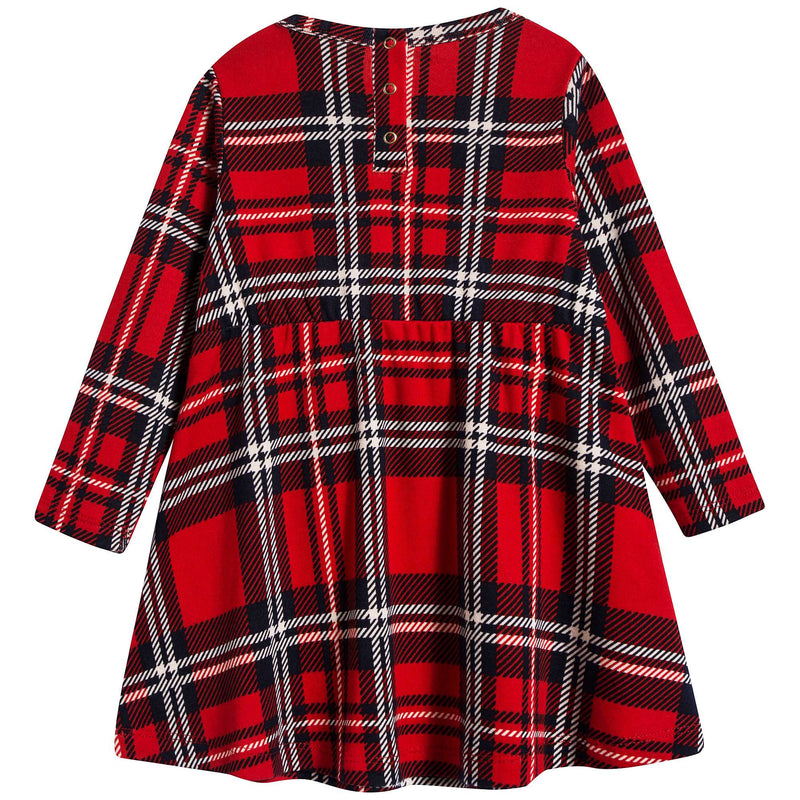 Girls Red Check Organic Cotton Dress