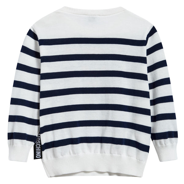 Baby White & Blue Striped Cotton Sweater