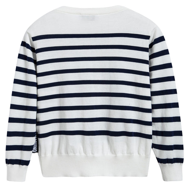Girls White & Blue Striped Cotton Sweater