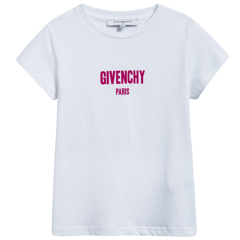 Girls White Cotton Pink Logo T-shirt