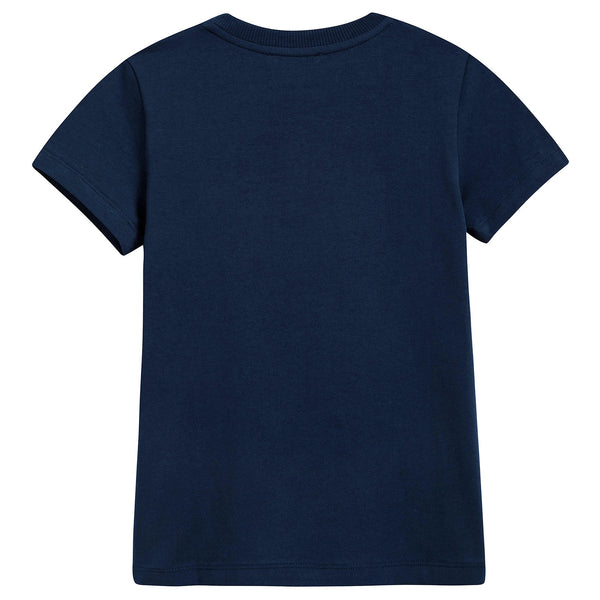Girls Navy Blue Cotton Teddy Bear T-Shirt