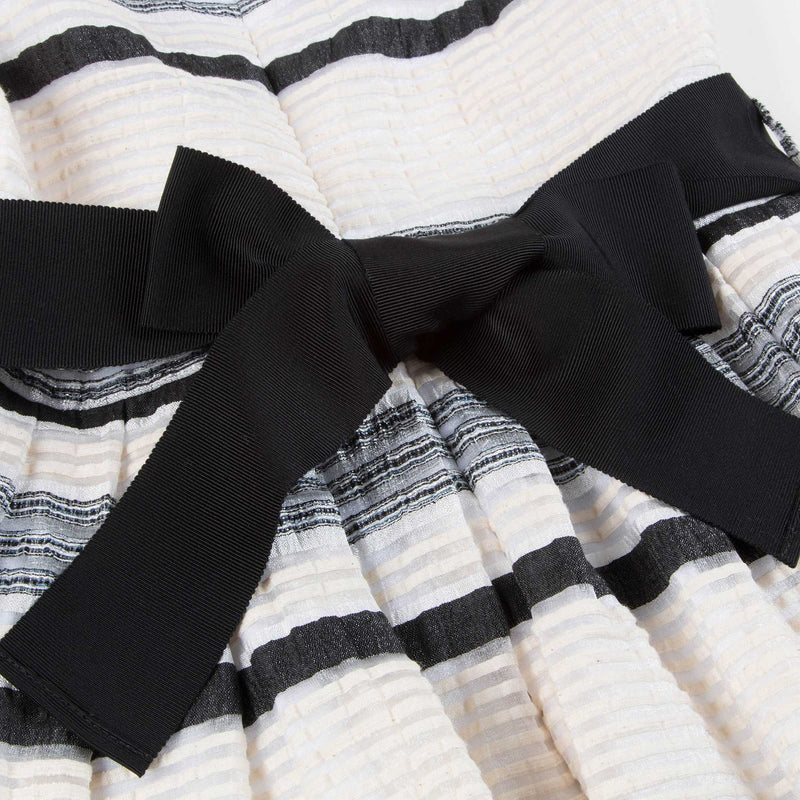 Girls White & Black Stripes Dress