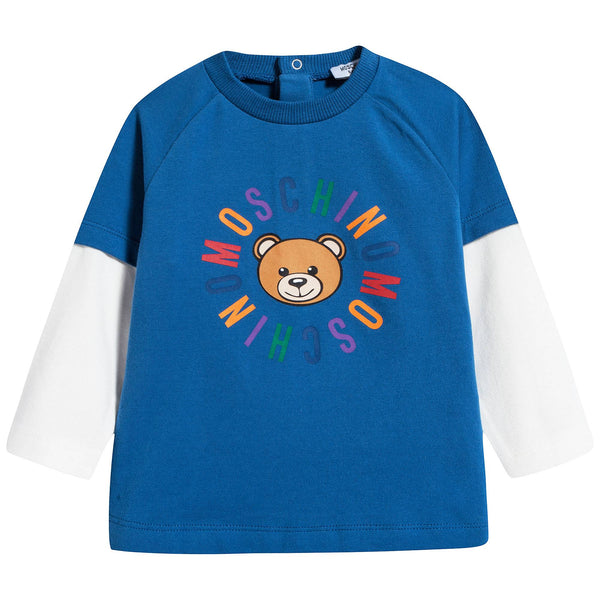 Baby Boys Blue Pink Cotton T-shirt