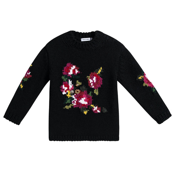 Baby Girls Black Flowers Printed Sweater
