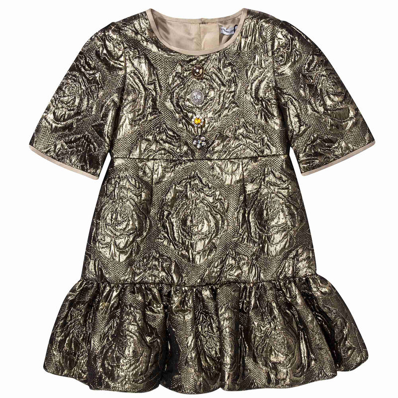 Baby Girls Gold Jacquard Dress