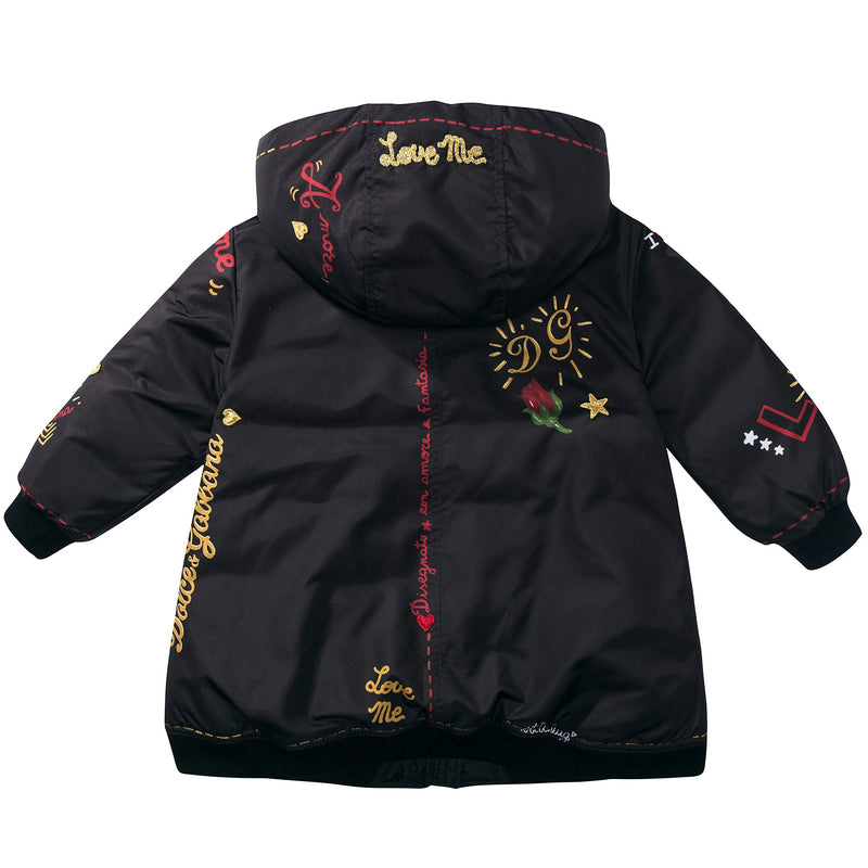 "Girls Black ""My Love"" Polyester Coat"