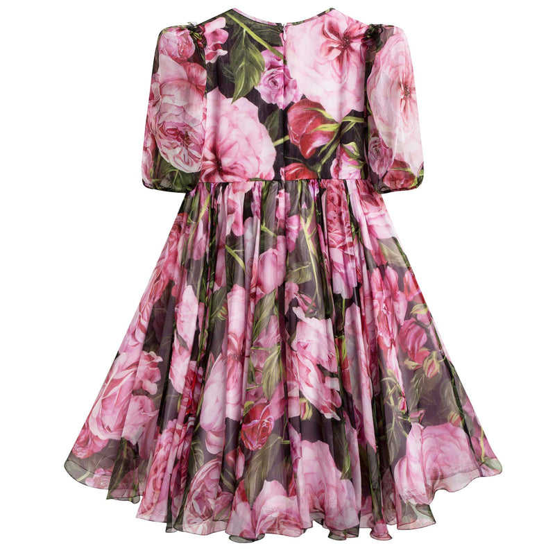 Girls Pink 'Rose Bianco' Brocade Dress