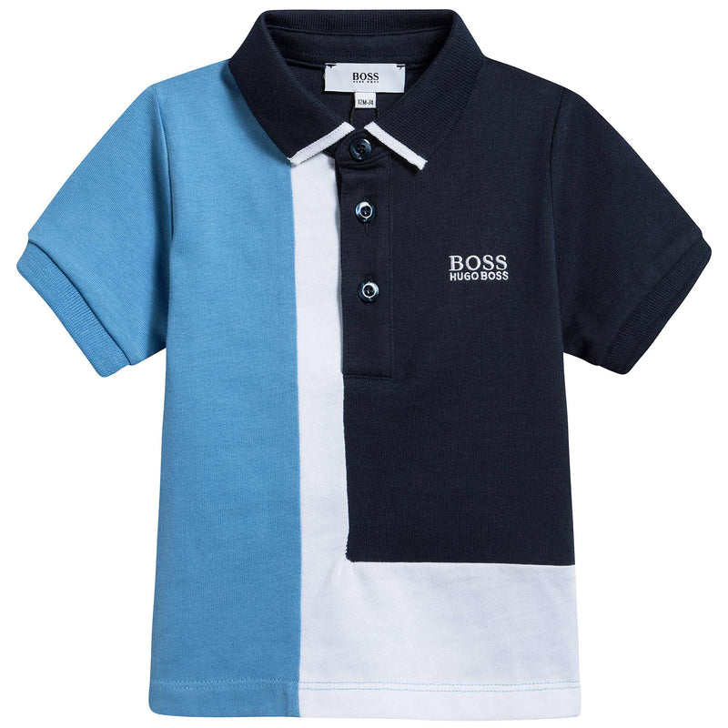 Baby Boys Blue & White Cotton Polo Shirt