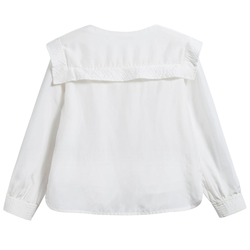 Girls White Soie Blouse
